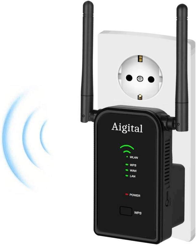 Aigital WiFi Repetidor Router, 300Mbps Enrutador Inalámbrico Extensor de Red WiFi Ap Amplificador Wireless Repeater Booster Wireless-N 2.4GHz Modem con Antena 2x3dBi (WPS)