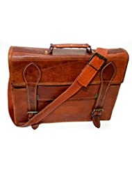 15 Vintage Brown Leather Messenger Shoulder Laptop Bag Briefcase Handmade Free Size