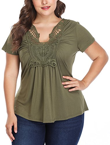 MISS MOLY Women's Plus Size Loose Casual Ruched Front Lace Up Short Sleeve Shirt Tops Blouse V-Neck Tops Green 2XL