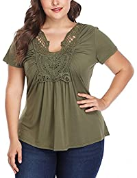 35d80e8c1f9 Women s Ruched Front Short Sleeve Lace Up V Neck Cute Ruffle Peplum Plus  Size Tops Shirt