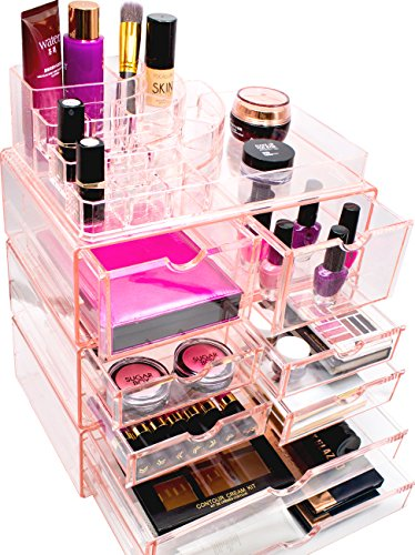 Sorbus Acrylic Cosmetics Makeup and Jewelry Storage Case X-Large Display Sets -Interlocking Scoop Drawers to Create Your Own Specially Designed Makeup Counter -Stackable and Interchangeable (Pink)