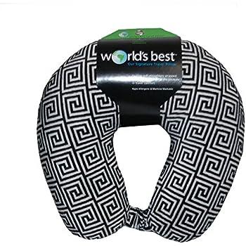 World's Best Feather Soft Microfiber Neck Pillow, Black Greek Key