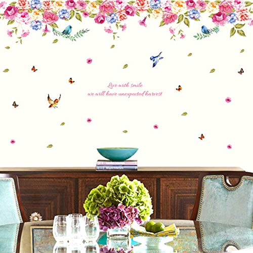 - RONGAN Bird Language Potpourri Wall Sticker Living Room Background Wall Stickers Home Decor Living Room Wall Decals Flowers 60X90cm