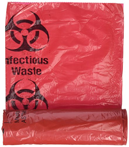 (Medical Action Infectious Waste Bag, Red, 3 Gallon, 14.5