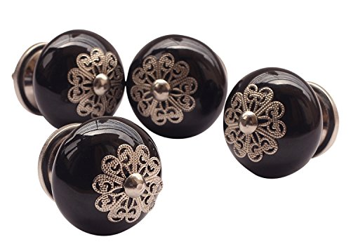 Labor Day Sale - Set of 4 Black Hand Painted Ceramic Round knobs Cabinet Drawer Handles pulls by abhandicrafts