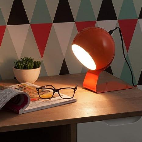 Lámpara de mesa metal, 23 cm, diseño de burbujas, color naranja ...