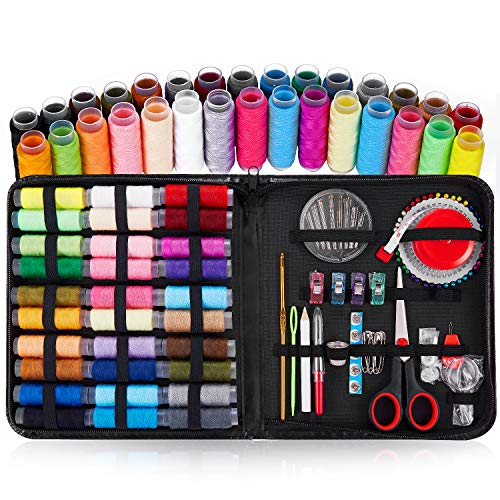Bauttf Sewing Kit Tools, DIY Handmade Craft Sewing Suppliers with 109 Essential Tools Include Thimble, Thread, Needles and Complete Hand Sewing Accessories for Home Travel Repair Black