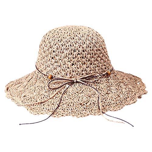 Beauty-OU Hat 1PC Summer Cap Women Foldable Crochet Sun Hat Hollow Dome Straw Wide Brim Summer Beach Women Sunhats 2019 Mar21,C,United States