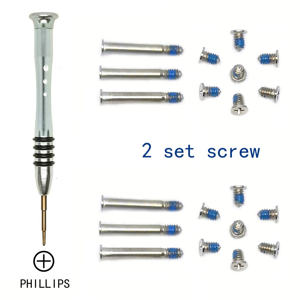 "2 Sets Replacement Screws with Screwdriver for MacBook Pro 13"" 15"" 17"" A1278 A1286 A1297 2009-2012, Unibody Bottom Case Cover Phillips Repair Tool Kit Notebook Laptop PC Computer Screw"