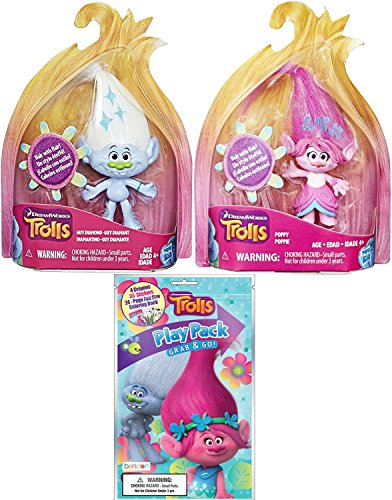 Trolls Mini Figure Pack Poppy & Guy Diamond with Flair Hair! & DreamWorks Trolls Series Coloring Book / Crayons + Stickers Activity Fun Play - Solstice Family Care