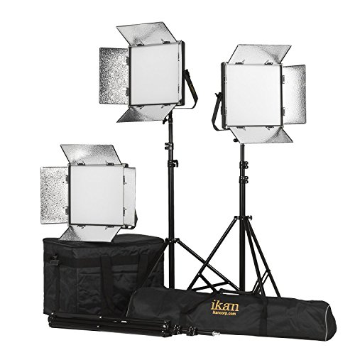 Ikan LB10-3PT-KIT 3-Point Soft Panel LED Light Kit  with Gold & V-Mount Battery Plate, Black by Ikan