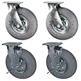 Service Caster - 8'' Gray Pneumatic Rubber Wheel – 2 Swivel and 2 Swivel Casters w/Brakes - Set of 4