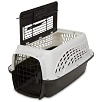 Petmate 21225 Two Door Top Load 19-Inch Pet Kennel, Metallic Pearl White and Coffee Ground Bottom