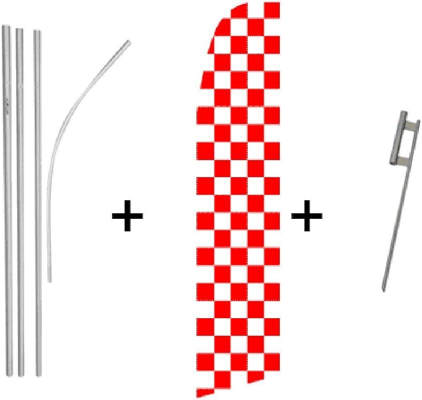 Red /& White Checkered Quantity 5 Super Flag /& Pole Kits