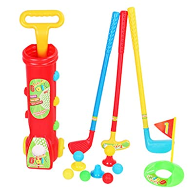 Deerbb Kids Golf Clubs Cart Set 4 Balls, 3 Clubs, 2 Practice Holes, 2 Flags Toddler Outdoor Toys Little Boys Girls Age 2 3, Baby Outside Lawn Sport Toys Plastic: Toys & Games