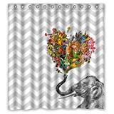 "66""(w) x 72""(h) Hot Sale Happy Elephant Art in Gray and White Chevron Bathroom Shower Curtain Shower Rings Included, 100% Polyester"