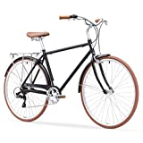 sixthreezero Ride In The Park Men's 7-Speed Touring City Bike, 700x32c Wheels, Matte Black, 18'/One Size