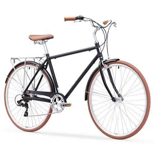 sixthreezero Ride In The Park Men's 7-Speed Touring City Bike, 700x32c Wheels, Matte Black, 18