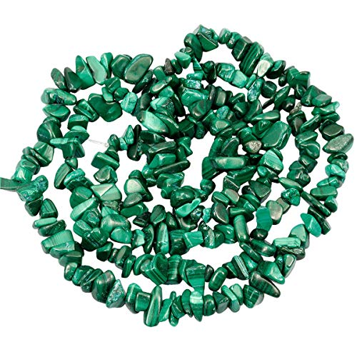 Nupuyai Chips Gemstone Loose Beads for Jewelry Making, Polishd Stone Beads Strands 33 inches, Malachite ()