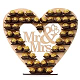 Yeefant Rustic Wood Mr&Mrs Heart Chocolate Dessert Display Cake Topper Decoration–Vintage Party Event Banquet Anniversary Decoration Favors Signs Natural Color Set for Living Room Bedroom,18x16 Inch