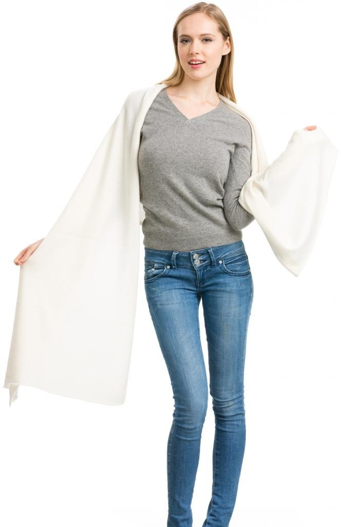 Cashmere Scarf Wrap - 100% Cashmere - by Citizen Cashmere (White) (43 500-01-09)