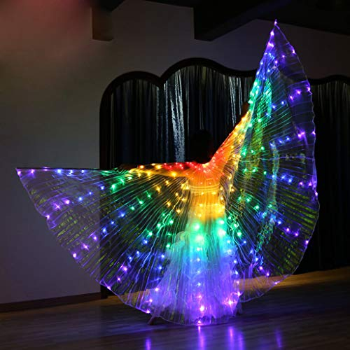 CapsA Wings Glow Light Up Belly Dance Costumes Performance Clothing Carnival Halloween LED Angel Wings for Carnival Stage Halloween Christmas Party with Telescopic Sticks (C) -
