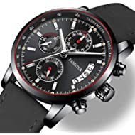Watches Mens Sports Chronograph Waterproof Analog Quartz Watch with Black Leather Band Fashion...