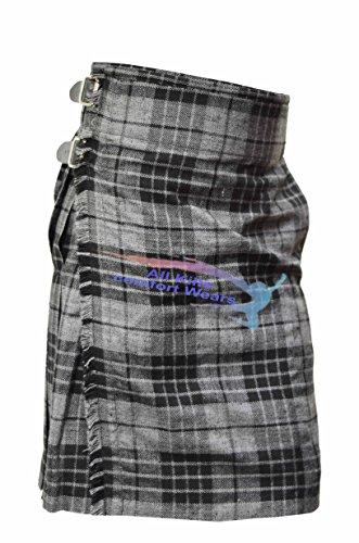 Grey Highlander 5 Yard & 13Oz Tartan Kilt - Tartan Kilts (5 Yard Wool Kilt)