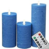 NONNO&ZGF 3.2''x5''&7''&9'' Blue Frost Matte Water Ripple Moving Wick Flameless Flickering Pillar Candles,Ice Crack Blue Wax Candles with Remote Control,Set of 3.
