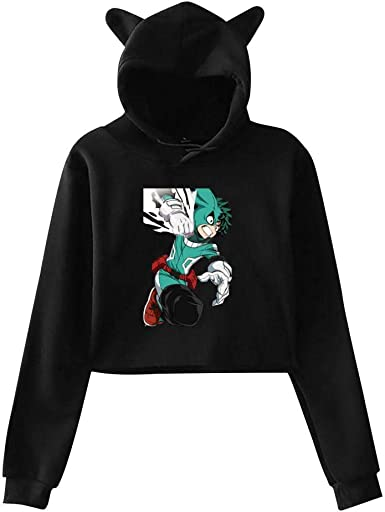 QAX-GTD 3D Mens Sweatshirt Hooded Izuku Midoriya Casual Hoodies Sweater with Pocket Pullover Jacket