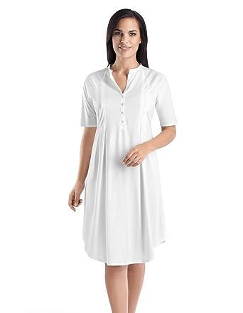 6131abd410 Hanro Cotton Deluxe White Short Sleeve Nightdress 100cm 7954-101  Hanro   Amazon.co.uk  Clothing