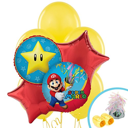 Super Mario Party Supplies - Balloon Bouquet (Super Mario Pinata Star)