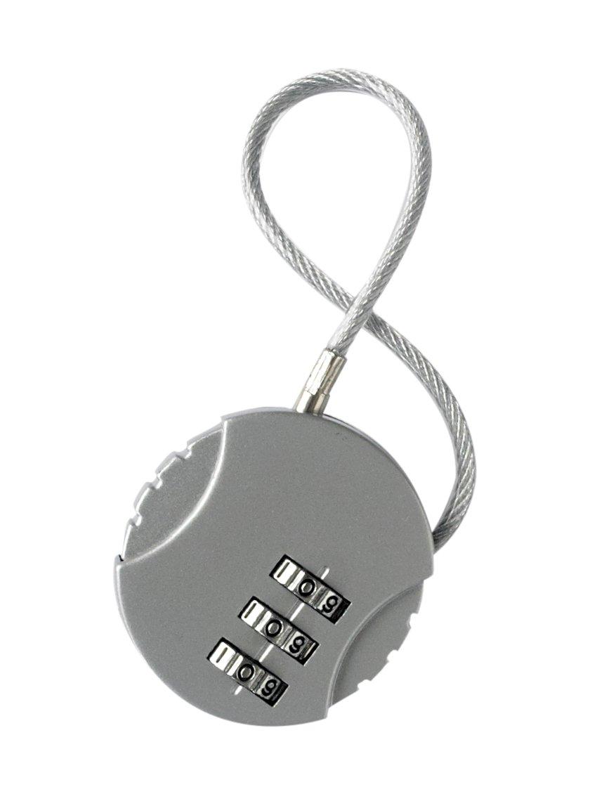 Korbond Cable Combination Padlock//Luggage Lock Silver 14 cm