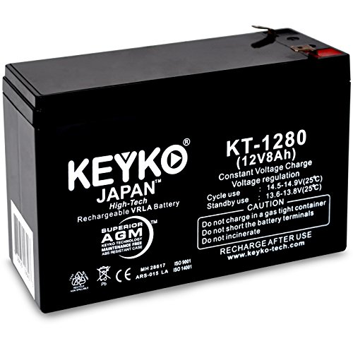 KEYKO Genuine KT-1280 12V 8Ah REAL Capacity 8.0 Amp 20Hrs Battery SLA Sealed Lead Acid/AGM Replacement - F2 -F1 ()