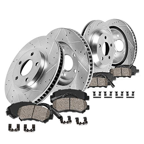 CDS02925 FRONT 373.88mm + REAR 370mm D/S 5 Lug [4] Rotors + Brake Pads + Clips + Sensors [for 2009-2011 2012 BMW 750]