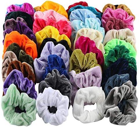 Sixcup Velvet Bande de Cheveux Paquet de 46 /élastiques /à Cheveux Velours Cravates Brillantes Bandes Color/ées de /Élastiques Cravates Porte-Queue de Cheval Bandeaux pour Femmes Filles 46 Couleurs