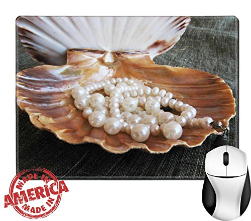"Luxlady Natural Rubber Mouse Pad/Mat with Stitched Edges 9.8"" x 7.9"" Seashell wiht pearl IMAGE ID 5338339"