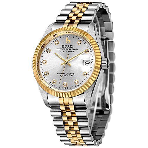 BUREI Mens Formal Self winding Watches with Elegant Face Datejust Sapphire Crystal Metal Band by BUREI