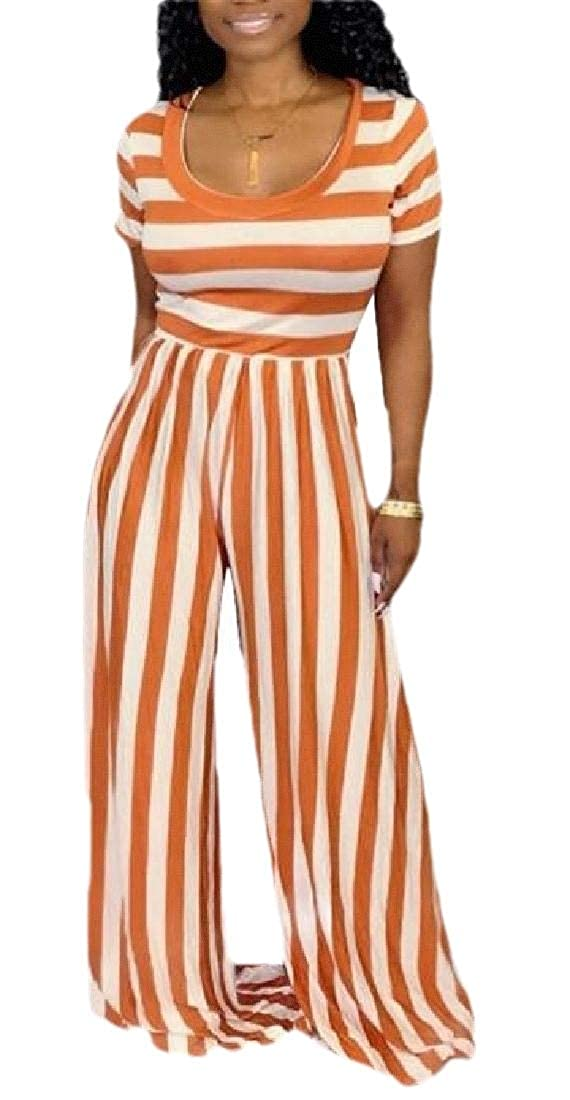 CYJ-shiba Womens Loose Short Sleeve Stripe Summer Wide Leg Pants Jumpsuit