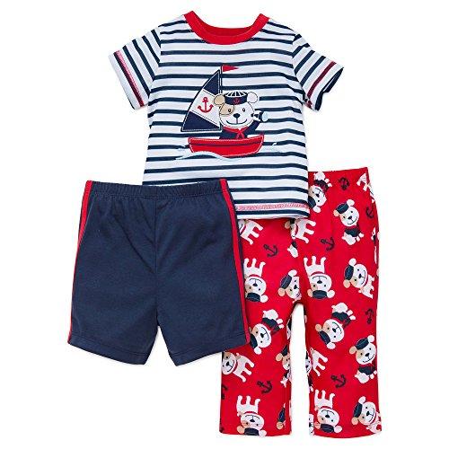 Little Me Infant Boy Pajamas 3 Pc Sleepwear Nautical Dog Shirt Pants Shorts 18M ()