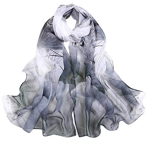 (iYBUIA Chiffon Fashion Women Lotus Printing Long Soft Wrap Scarf Ladies Shawl Scarves)