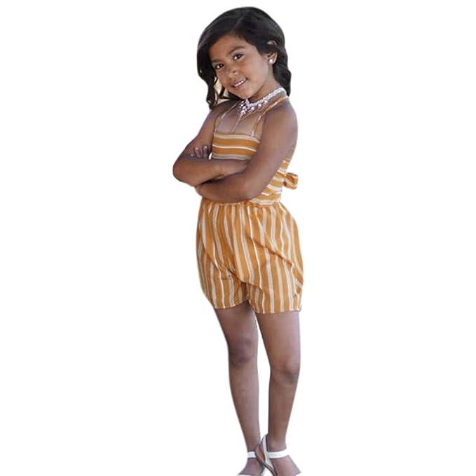 Sayla Ropa Bebe NiñA NiñO Verano Camisetas Conjuntos Moda Chica Correa De Lazo Sin Mangas con Estampado A Rayas Mono Sin Espalda Monos Traje: Amazon.es: ...