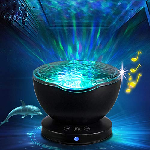 LDAKLE Ambiental Estrella Proyector Ocean Wave Sleep Moon Lamp USB ...