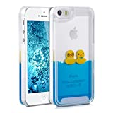 kwmobile hardcase cover for iPhone SE / 5 / 5S with liquid - hardcase backcover protective case water with Design ducks in yellow blue transparent