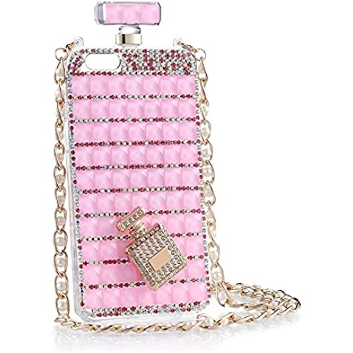 iPhone case, KAMIER Perfume Bottles Cover Phone Case Diamond with Pearl Mobile Phone Chain-Pink,Galaxy S7 Sales