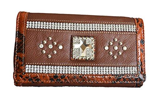 Tan Faux Snakeskin Handbag - women's brown animal print rhinestone cross clutch wallet
