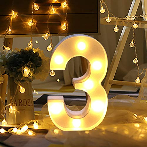 Hot Sale Alphabet LED Letter Lights, Keepfit Light Up White Plastic Letters Standing Hanging for Home Party Bar Wedding Decoration (3, One Size) ()