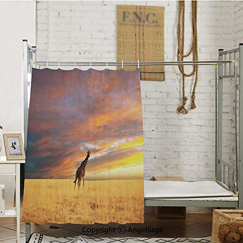 nder Large Clouds at Sunset African Wildlife Themed Safari Decorative Room partition curtains,(72