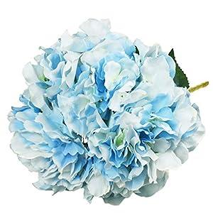 Lacheln Artificial Hydrangea Flowers 5 Big Heads Silk Bunch Bouquet Home Wedding Party Decor 14