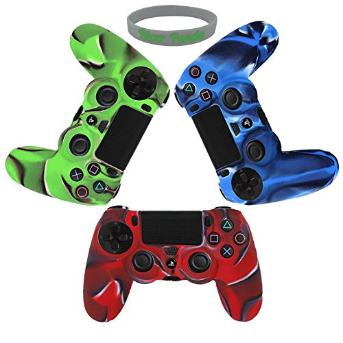 PlayStation-4-Controller-Case RiverPanda Camo Series -3 Pack Silicone Protection Case Skin for Sony PS4 Controllers -3 Color (Blue/Green/Red ) (Playstation 4 Protective Case compare prices)